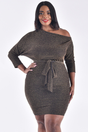 PLUS SIZE METALLIC UNBALANCED NECK 3/4 SLEEVE BELTED FIT DRESS