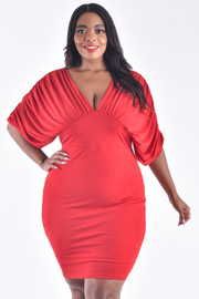 PLUS SIZE V-NECK SHORT SLEEVE FIT PLEATED MINI DRESS