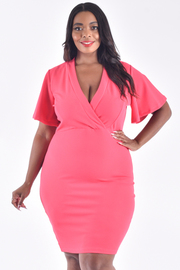 PLUS SIZE OVERLAP FRONT WIDE SLEEVE SOLID MINI DRESS