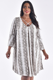 PLUS SIZE LONG BELL SLEEVE SNAKE SKIN PRINTED MIDI DRESS