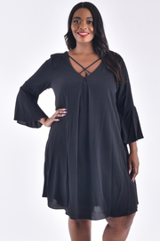 PLUS SIZE DRESS V-NECK 3/4 FIT FLAIR SLEEVE COMFORTABLE DRESS