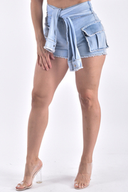 SLEEVE TIE SHORTS WITH FLAP POCKETS