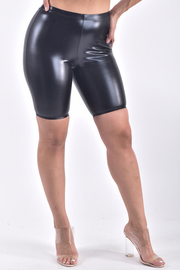 FAUX LEATHER FITTED SHORTS