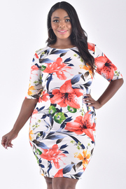 PLUS SIZE BOAT NECK SHORT SLEEVE FITTED FLORAL DRESS
