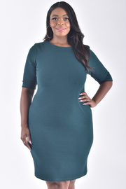 PLUS SIZE BOAT NECK SHORT SLEEVE FITTED DRESS