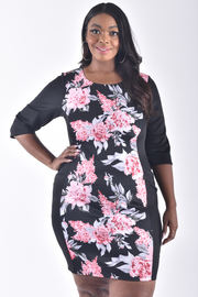 PLUS SIZE 3/4 SLEEVE SOLID PRINT BODY CONE DRESS