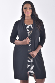 PLUS SIZE PRINT SOLID CONTRAST MIDI CARDIGAN DRESS
