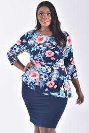 PLUS SIZE FLORAL PRINT SOLID PEPLUM MIDI DRESS