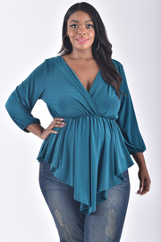 PLUS SIZE 3/4 SLEEVE PLEATED FLAIR WAIST TOP
