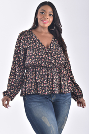 PLUS SIZE LONG SLEEVE OVERLAPPED GATHERED FLORAL TOP