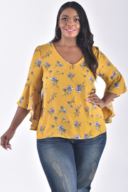 PLUS SIZE V-NECK LONG BELL SLEEVE TIE BACK PRINTED TOP