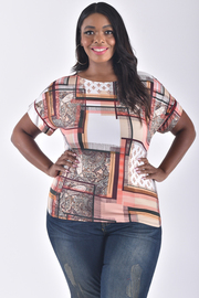 PLUS SIZE SHORT SLEEVE PRINTED TOP