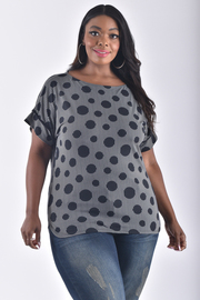 PLUS SIZE SHORT SLEEVE POLKA DOTS TOP