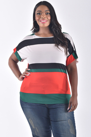 PLUS SIZE SHORT SLEEVE COLOR BLOCK TOP