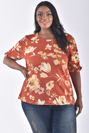 PLUS SIZE DRAPED SLEEVE FLORAL TOP
