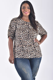 PLUS SIZE DRAPED SLEEVE ANIMAL TOP