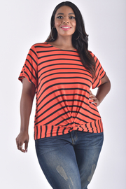 PLUS SIZE TWISTED FRONT BOTTOM STRIPE TOP