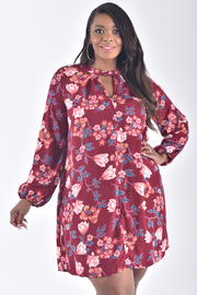 PLUS SIZE LONG SLEEVE FLORAL DRESS