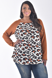 PLUS SIZE LONG SLEEVE SOLID PRINT CONTRASTED TOP