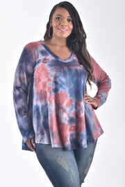 PLUS SIZE LONG SLEEVE TIE DYE COMFORTABLE TOP