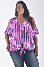 PLUS SIZE COLD SHOULDER BUTTON UP TOP WITH BOW TIE BOTTOM