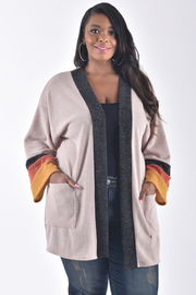 PLUS SIZE POINTED LONG WIDE SLEEVE OPEN FRONT JACKET