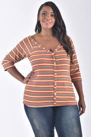 PLUS SIZE 3/4 SLEEVE BUTTON UP STRIPE TOP
