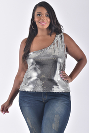 PLUS SIZE SEQUIN ONE SHOULDER SLEEVELESS TOP