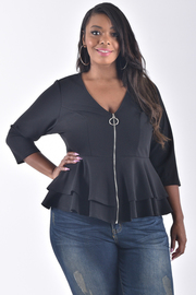 PLUS SIZE V-NECK 3/4 SLEEVE ZIP UP FRONT TOP