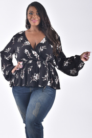 PLUS SIZE BISHOP SLEEVE SURPLICE FLORAL TOP