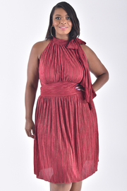 PLUS SIZE METALLIC MIDI DRESS WITH BIG BOW TIE NECK