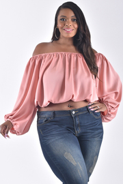 PLUS SIZE OFF SHOULDER BISHOP SLEEVE CROP TOP