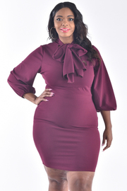 PLUS SIZE 3/4 PUFF SLEEVE FITTED DRESS WITH BOW TIE