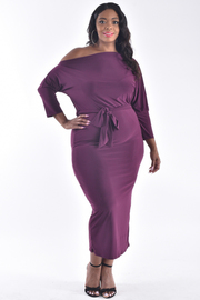 PLUS SIZE ONE RIGHT SHOULDER BELTED MAXI DRESS