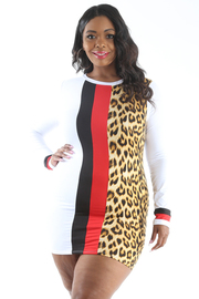 PLUS SIZE LONG SLEEVE COLOR AND PRINT BLOCK DRESS