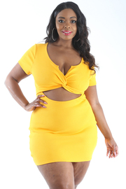 PLUS SIZE TWISTED BIKINI TOP CUT-OUT BODY-CON DRESS