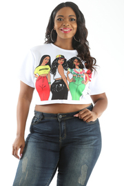 PLUS SIZE GIRLS GRAPHIC CROP TOP