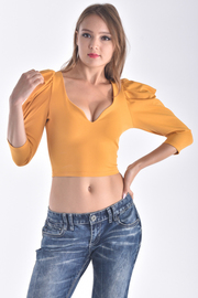 SOLID 3/4 PUFF SLEEVE CROP TOP