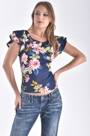 ROUND NECK DOUBLE LAYER RUFFLE SLEEVE FLORAL TOP