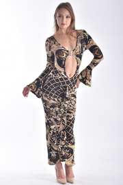 LONG BELL SLEEVE STRETCHED PRINTED MAXI DRESS