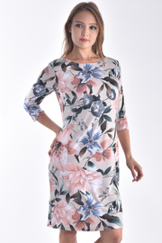 BOAT NECK 3/4 SLEEVE FLORAL DRESS