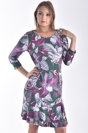 ROUND NECK 3/4 SLEEVE LAYERED FLORAL DRESS