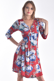 TWISTED FRONT 3/4 SLEEVE FLORAL MIDI COMFORTABLE DRESS