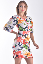 HALF BELL SLEEVE FLORAL BODYCON DRESS