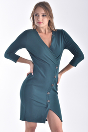 3/4 SLEEVE OVERLAPPED BUTTON UP SOLID MINI DRESS