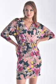 DOLMAN SLEEVE OVERLAPPED FLORAL MINI DRESS