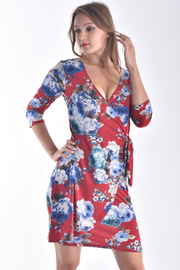 3/4 SLEEVE SURPLICE FLORAL MINI DRESS