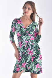 3/4 SLEEVE OVERLAPPED FRONT DRESS
