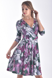 3/4 SLEEVE OVERLAPPED FRONT DRESS WITH TIE BELT