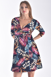 3/4 SLEEVE FLORAL SURPLICE DRESS WITH BUCKLE DETAIL